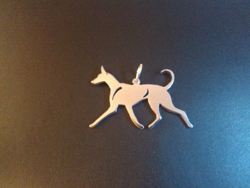 Pharaoh Hound dog  pendant sterling silver Designed by Marianne Felix